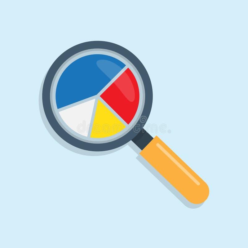 Analytics de los datos del márketing, con el icono de la lupa y el gráfico de sectores stock de ilustración