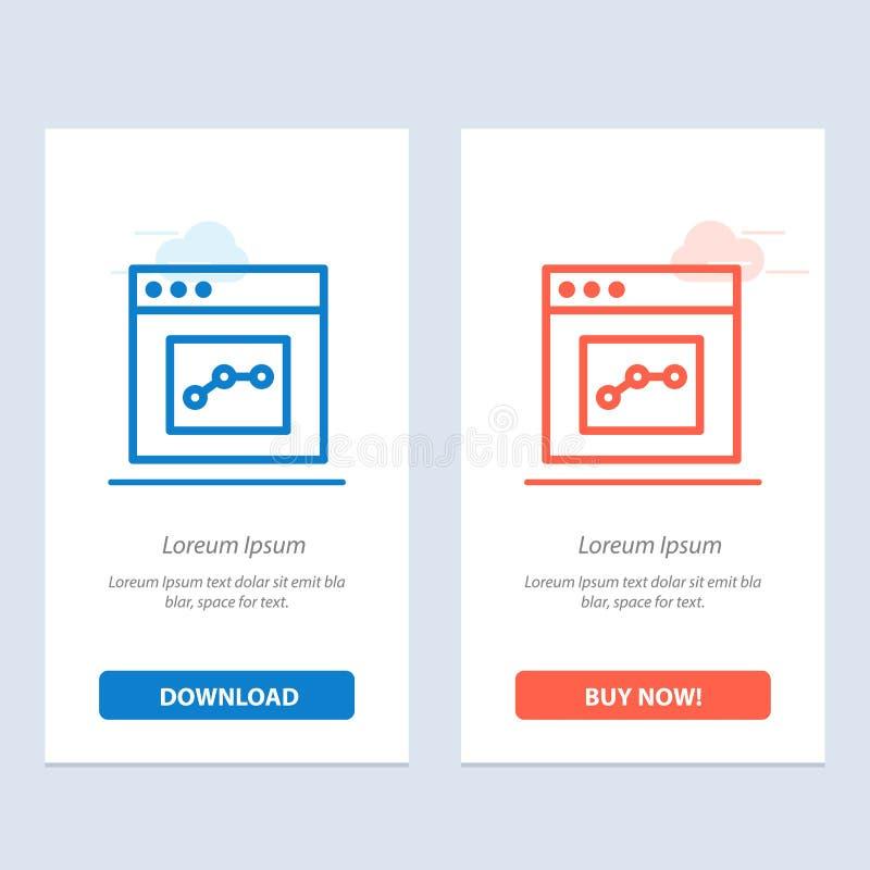 Analytics, de Mededeling, de Interface, de Gebruikers Blauwe en Rode Download en kopen nu de Kaartmalplaatje van Webwidget royalty-vrije illustratie