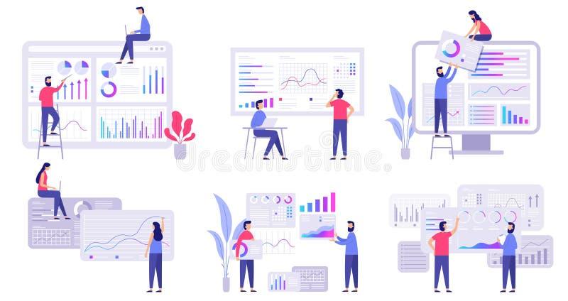Analytics de tendances de prévision du marché, stratégie marketing d'affaires et ensemble plat d'illustration de vecteur de prévi illustration libre de droits