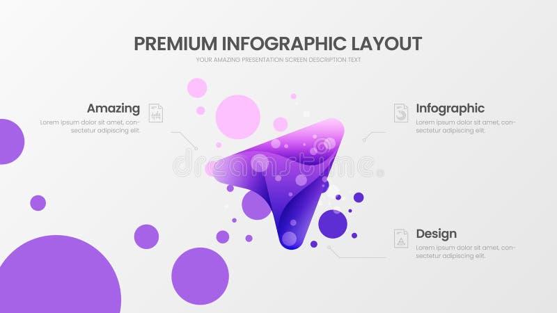 3 analytics de vente de flèche d'option dirigent le calibre Disposition de conception de visualisation d'affaires Statistiques or illustration stock