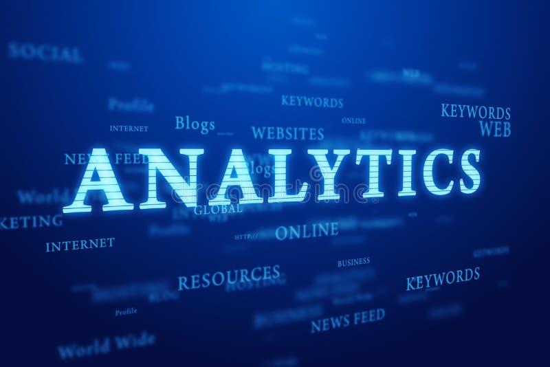 Analytics. De wolk van woorden op diepe blauwe achtergrond. vector illustratie