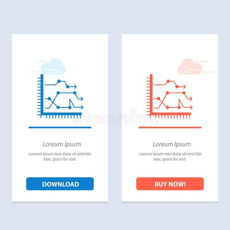 Analytics, de Zaken, de Grafiek, het Diagram, de Grafiek, de Tendensen Blauwe en Rode Download en kopen nu de Kaartmalplaatje van vector illustratie