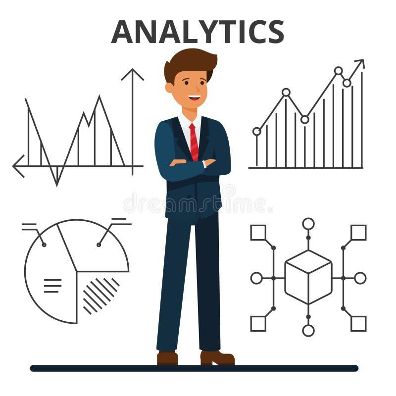 Analytics del asunto Hombre de negocios joven que mira cartas financieras libre illustration
