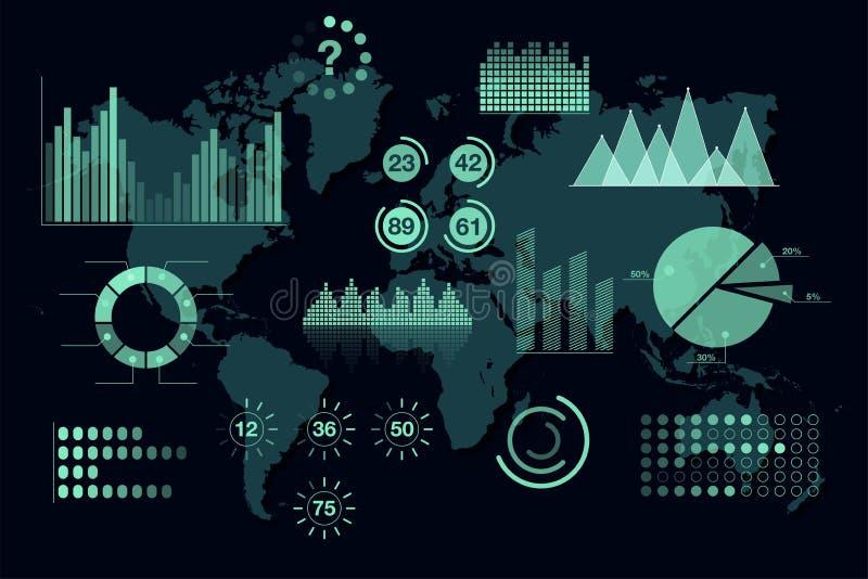 Analytics del mundo infographic Sistema de los gráficos y de las cartas transparentes, plantilla del tablero de instrumentos libre illustration