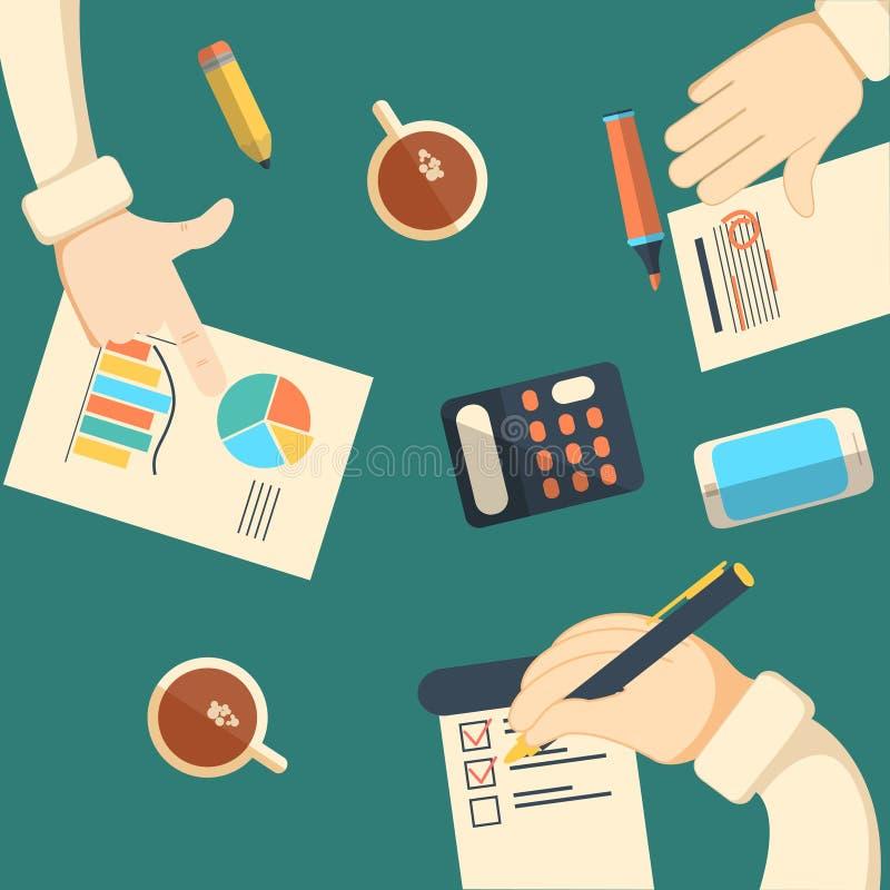 Analytics del negocio y auditoría financiera ilustración del vector
