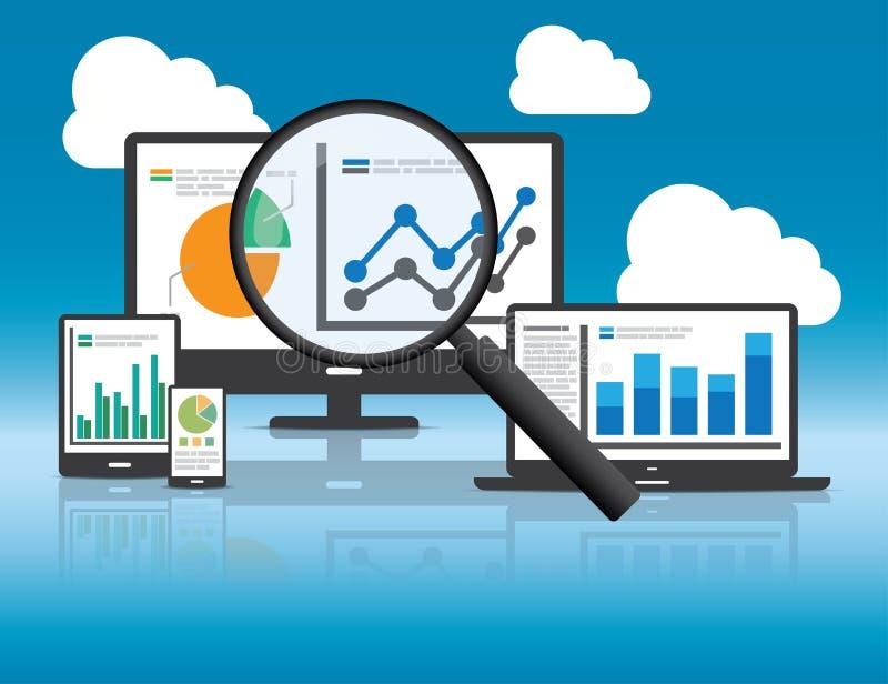 Analytics del sitio web y concepto del análisis de datos de SEO stock de ilustración