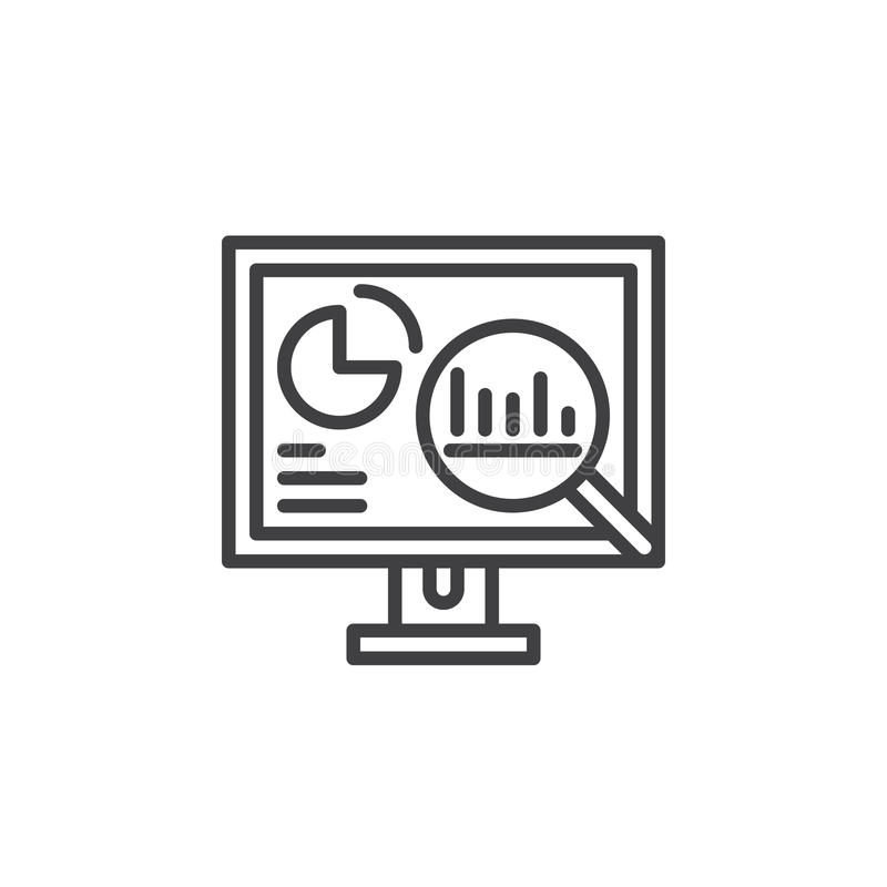 Analytics, Desktop pc with graphs line icon, outline vector sign, linear pictogram isolated on white. stock illustration