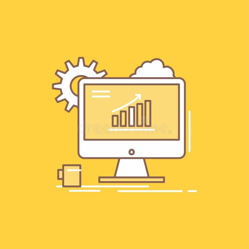 Analytics, Diagramm, seo, Netz, flache Linie gefüllte Ikone einstellend Sch?ner Logoknopf ?ber gelbem Hintergrund f?r UI und UX,  lizenzfreie abbildung