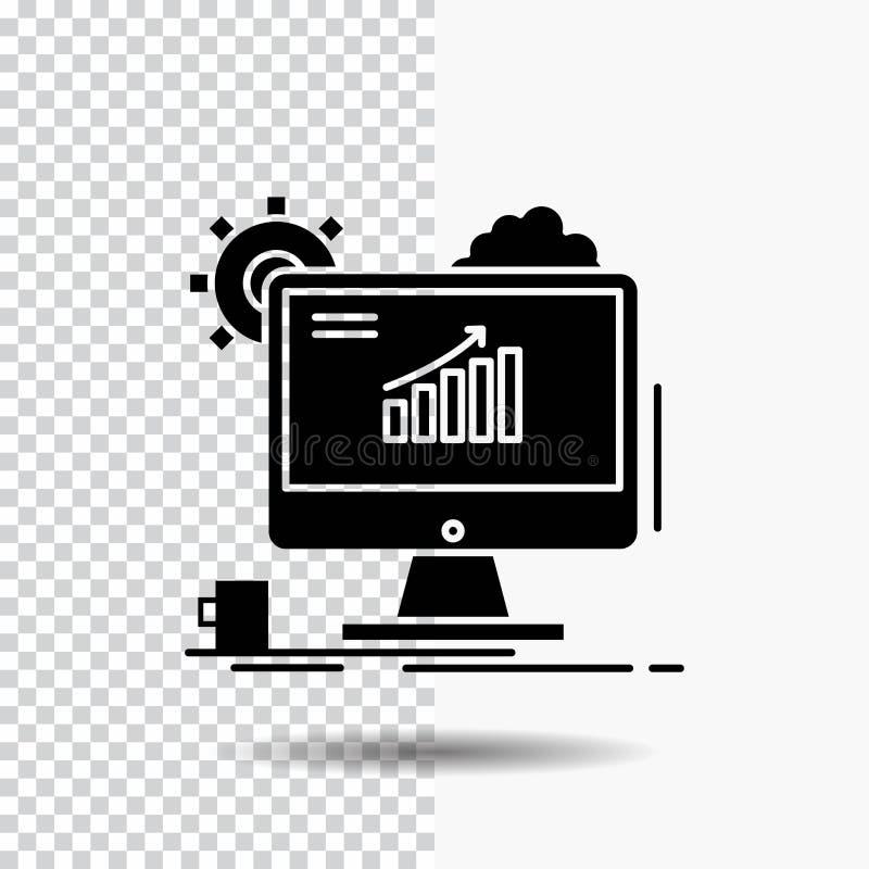 Analytics, Diagramm, seo, Netz, Glyph-Ikone auf transparentem Hintergrund einstellend Schwarze Ikone stock abbildung