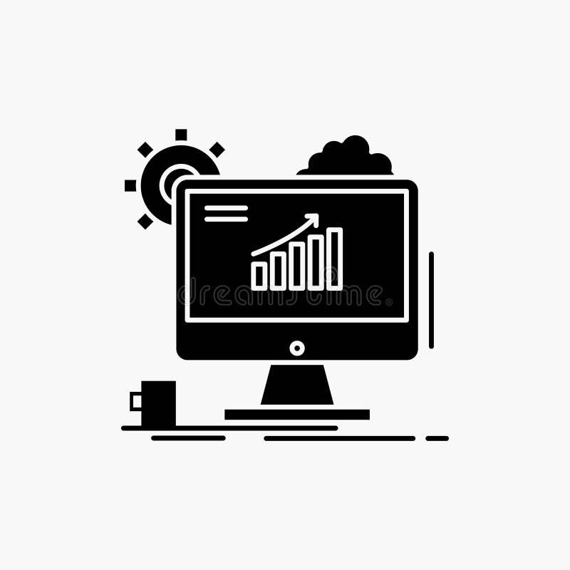 Analytics, Diagramm, seo, Netz, Glyph-Ikone einstellend Vektor lokalisierte Illustration stock abbildung