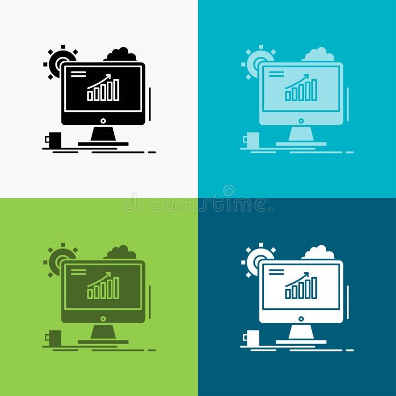 Analytics, Diagramm, seo, Netz, Ikone ?ber verschiedenem Hintergrund einstellend Glyphartdesign, bestimmt f?r Netz und APP Vektor lizenzfreie abbildung