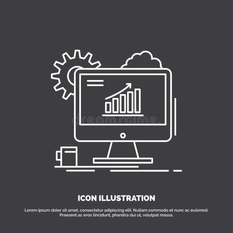 Analytics, Diagramm, seo, Netz, Ikone einstellend Linie Vektorsymbol f?r UI und UX, Website oder bewegliche Anwendung lizenzfreie abbildung