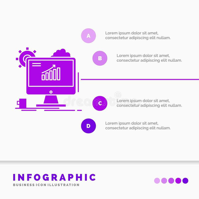 Analytics, Diagramm, seo, Netz, Infographics-Schablone f?r Website und Darstellung einstellend r lizenzfreie abbildung