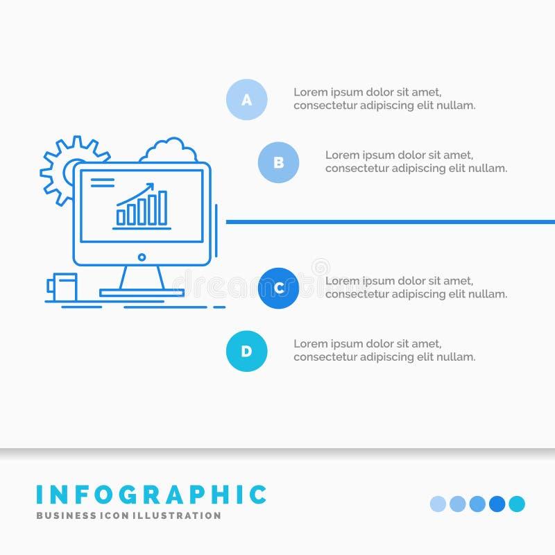 Analytics, Diagramm, seo, Netz, Infographics-Schablone f?r Website und Darstellung einstellend Linie infographic Artvektor der bl lizenzfreie abbildung