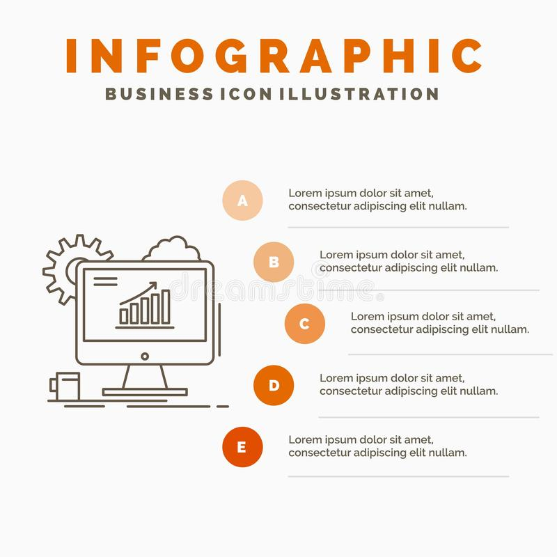 Analytics, Diagramm, seo, Netz, Infographics-Schablone f?r Website und Darstellung einstellend r stock abbildung
