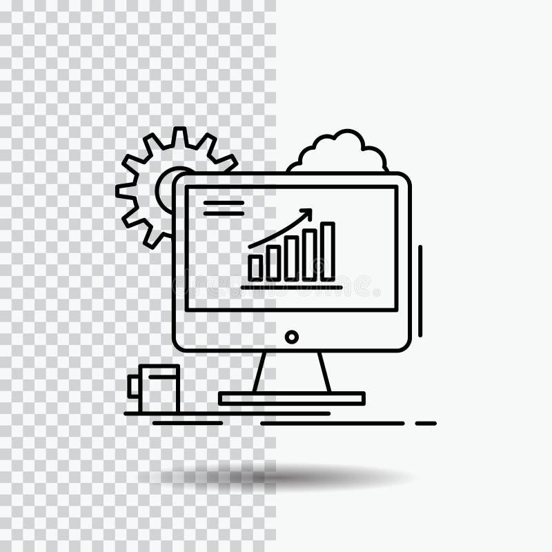 Analytics, Diagramm, seo, Netz, Linie Ikone auf transparentem Hintergrund einstellend Schwarze Ikonenvektorillustration vektor abbildung