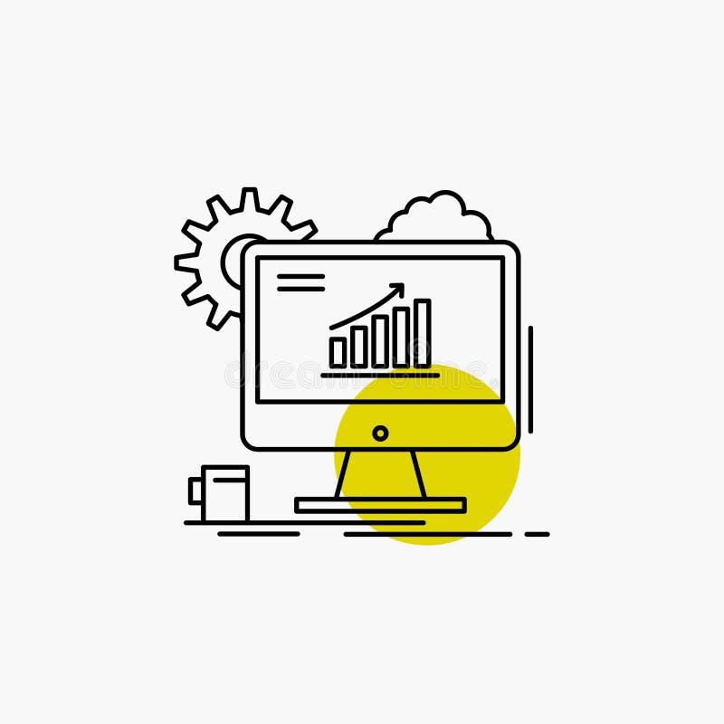 Analytics, Diagramm, seo, Netz, Linie Ikone einstellend lizenzfreie abbildung