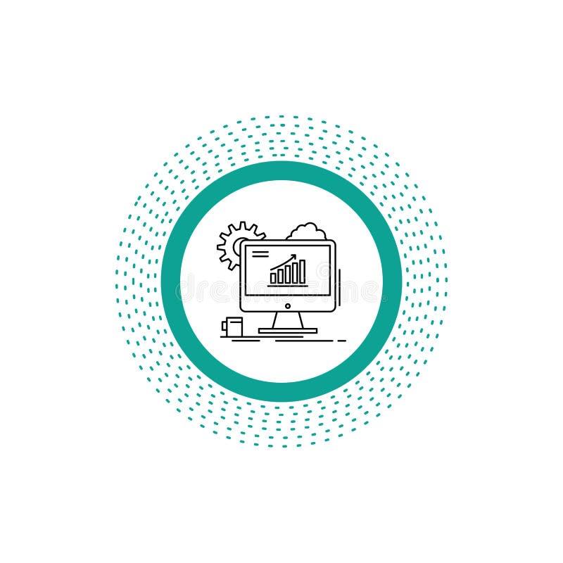 Analytics, Diagramm, seo, Netz, Linie Ikone einstellend Vektor lokalisierte Illustration stock abbildung