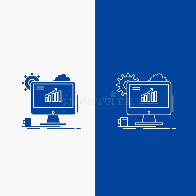 Analytics, Diagramm, seo, Netz, Linien- und Glyphnetz einstellend Knopf in der blaue Farbevertikalen Fahne für UI und UX, Website lizenzfreie abbildung