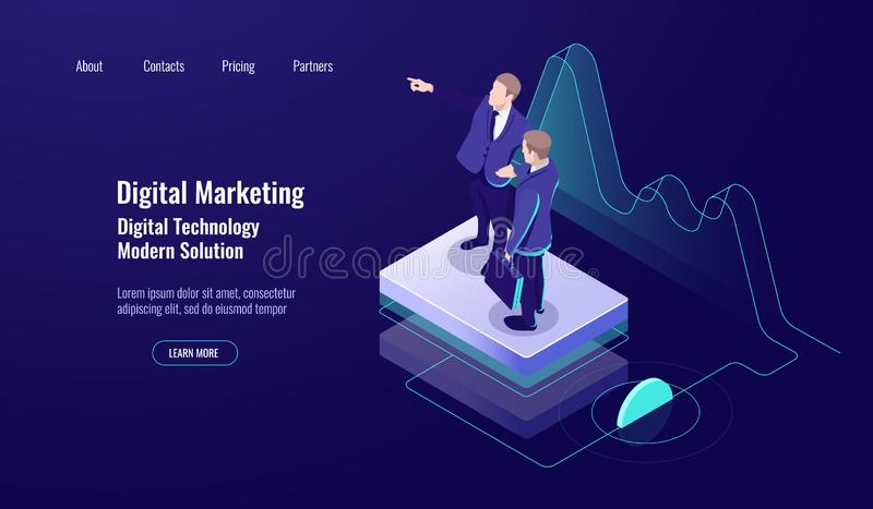 Analytics digital marketing, isometric concept, teamwork, teaching up skill, study worker, dark neon royalty free illustration