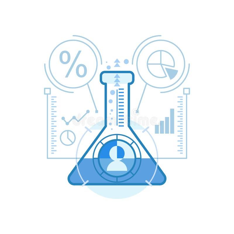 Analytics doux moderne, analyse de données, icônes de protocole expérimental pour le Web et conception graphique, conception d'Ui illustration stock