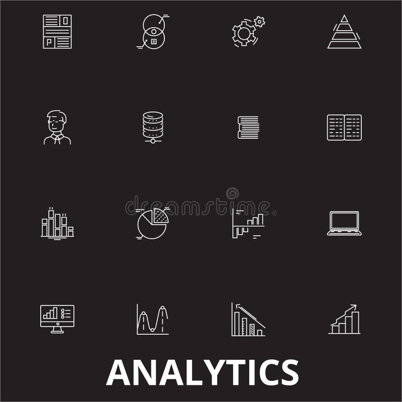 Analytics editable line icons vector set on black background. Analytics white outline illustrations, signs, symbols royalty free illustration