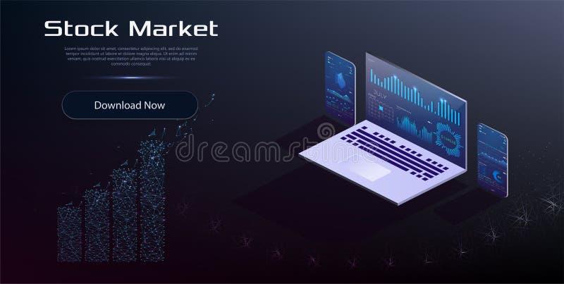 Analytics en ligne de statistiques et de données Marché monétaire, investissement, finances et commerce de Digital illustration de vecteur