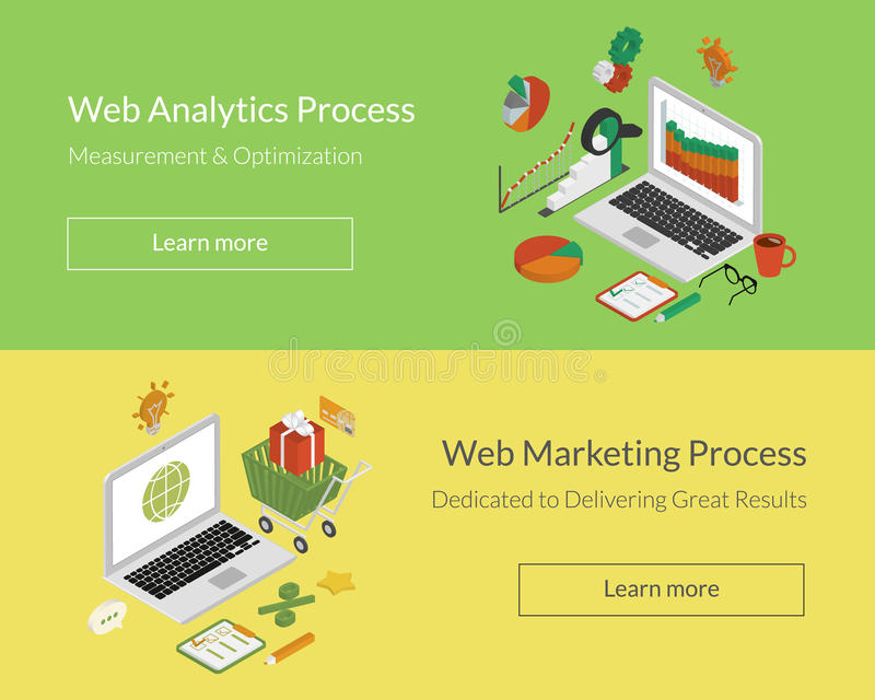 Analytics en marketing processen vector illustratie