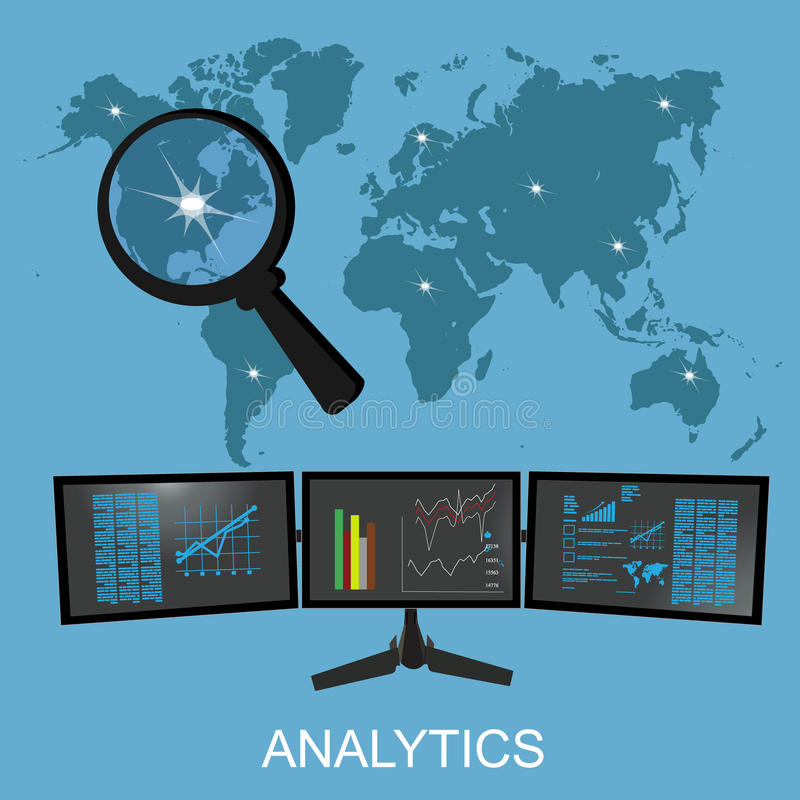 Analytics en statistiekenillustratie, vector royalty-vrije illustratie