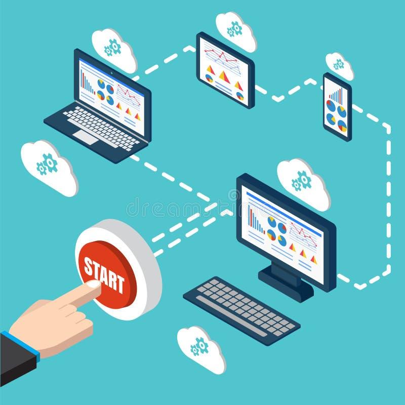 Analytics et vecteur de programmation Optimisation d'application Web illustration de vecteur