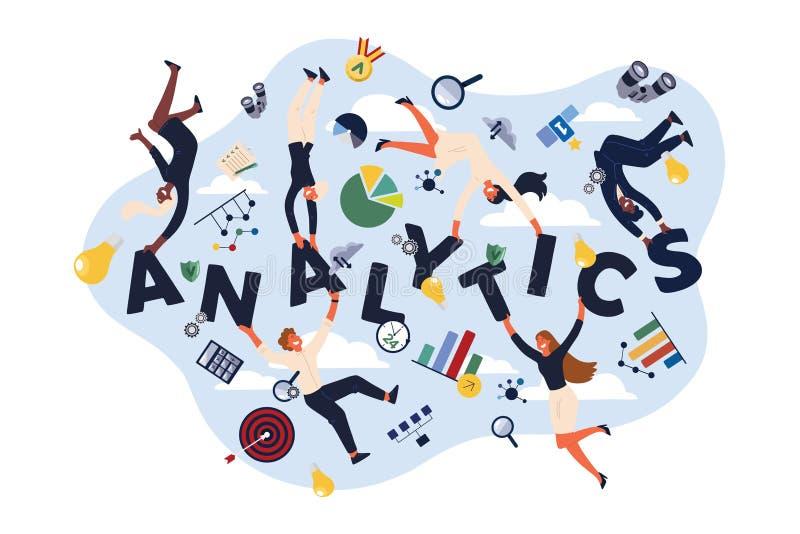 Analytics experts, economists, analysts making KPI presentations, representing information in charts, diagrams banner. Analytics experts, economists, analysts royalty free illustration