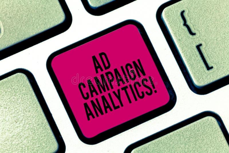 Analytics för aktion för annons för handskrifttexthandstil Aktioner för begreppsbetydelsebildskärm och deras respektive resultatt arkivfoton