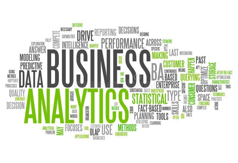 Analytics för ordmolnaffär stock illustrationer