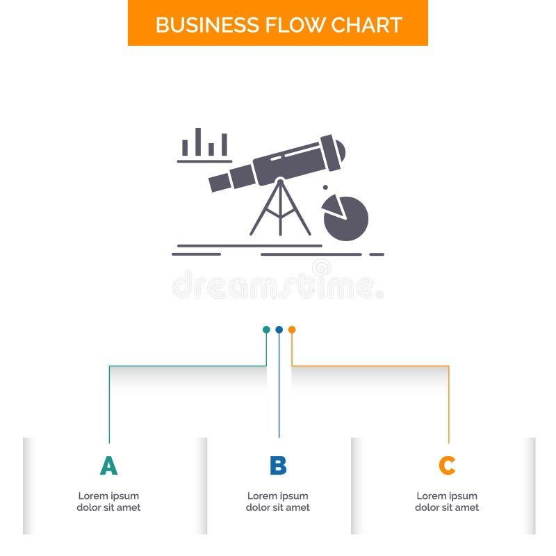 Analytics, financi?n, voorspelling, markt, het Ontwerp voorspellings van de Bedrijfsstroomgrafiek met 3 Stappen Glyphpictogram vo vector illustratie