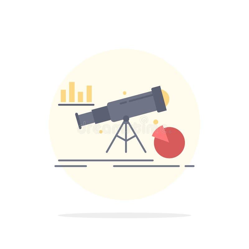 Analytics finans, prognos, marknad, för färgsymbol för förutsägelse plan vektor stock illustrationer