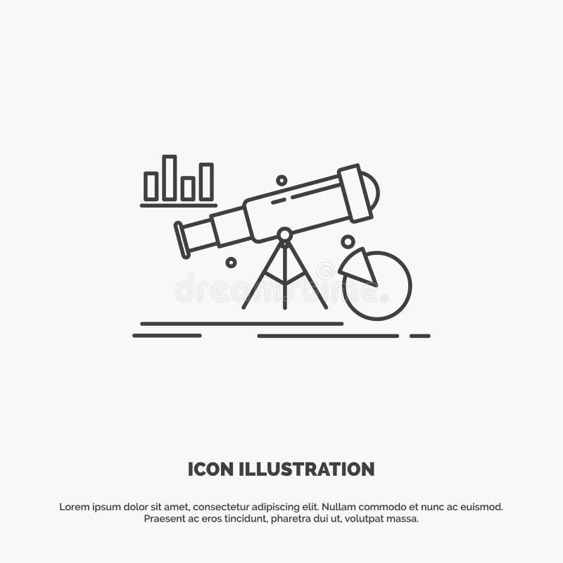 Analytics finans, prognos, marknad, förutsägelsesymbol Linje gr?tt symbol f?r vektor f?r UI och UX, website eller mobil applikati royaltyfri illustrationer