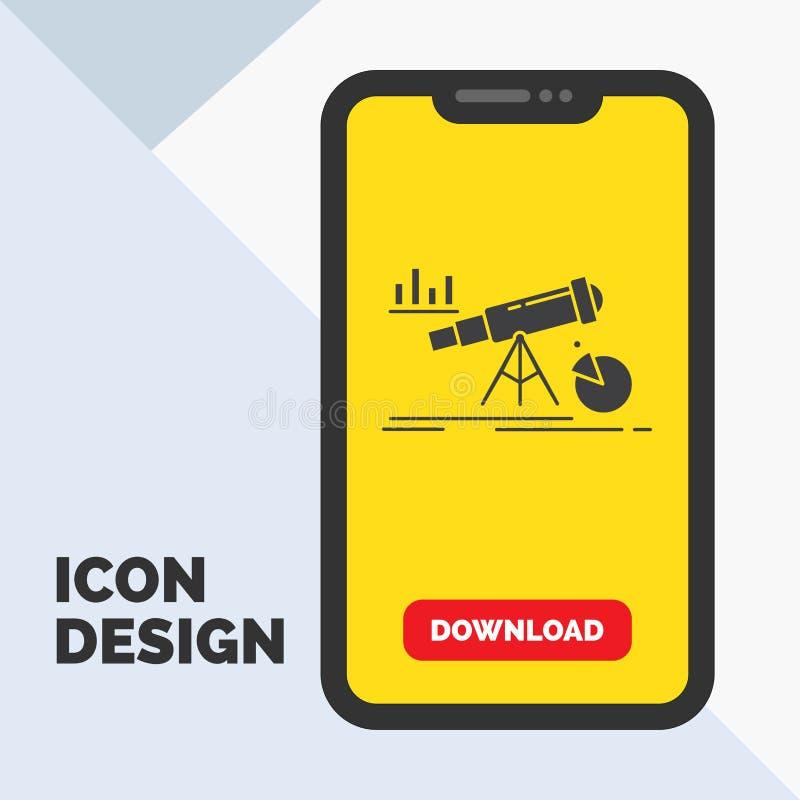 Analytics, Finanzierung, Prognose, Markt, Vorhersage Glyph-Ikone im Mobile für Download-Seite Gelber Hintergrund stock abbildung