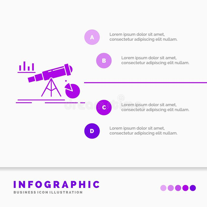 Analytics, Finanzierung, Prognose, Markt, Vorhersage Infographics-Schablone für Website und Darstellung Purpurrote Ikone des GLyp vektor abbildung