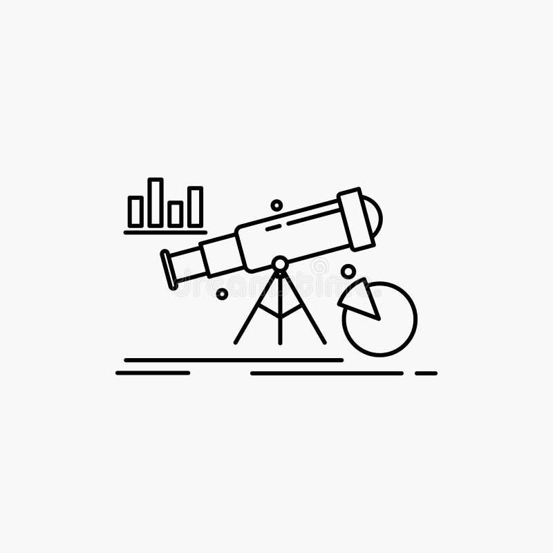 Analytics, Finanzierung, Prognose, Markt, Vorhersage Linie Ikone Vektor lokalisierte Illustration lizenzfreie abbildung