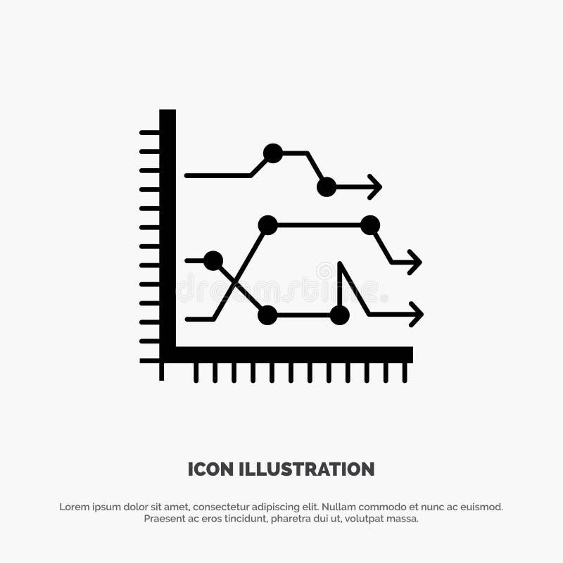 Analytics, Geschäft, Diagramm, Diagramm, Diagramm, neigt festen Glyph-Ikonenvektor vektor abbildung