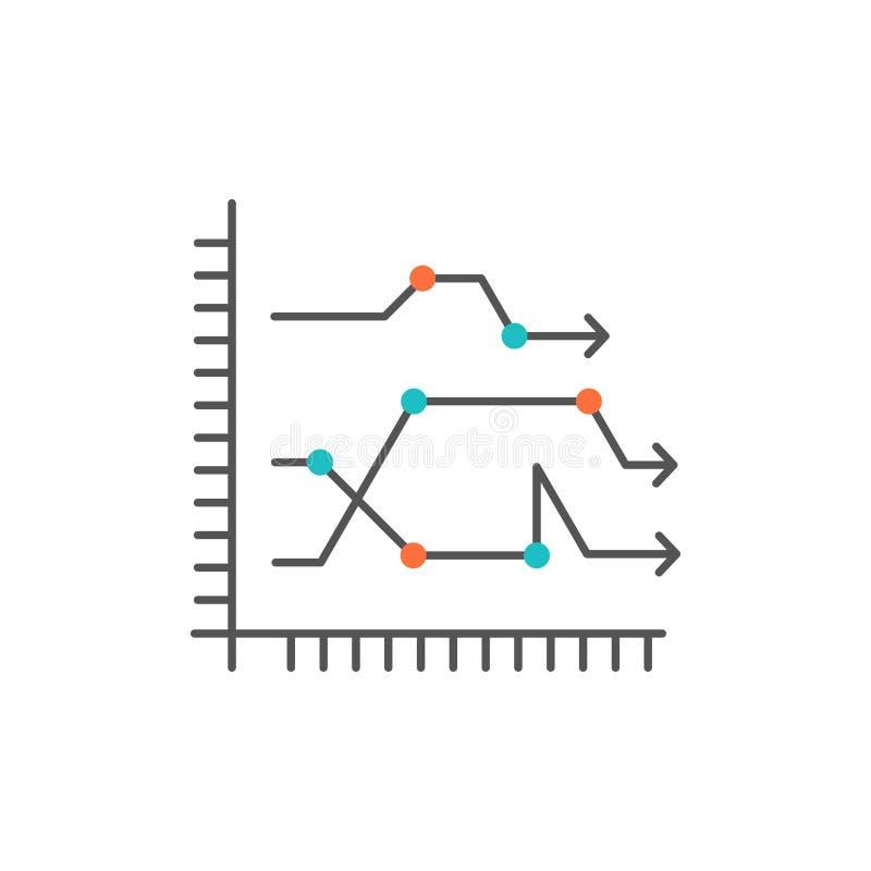 Analytics, Geschäft, Diagramm, Diagramm, Diagramm, neigt flache Farbikone Vektorikonen-Fahne Schablone lizenzfreie abbildung