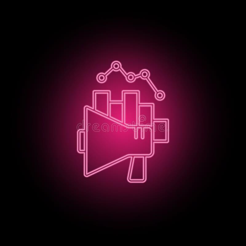 Analytics, grafiek, marketing megaphoneneon pictogram kan worden gebruikt om onderwerpen over SEO-optimalisering, gegevensanalyti stock illustratie