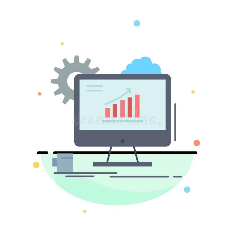Analytics, grafiek, seo, Web, de Plaatsende Vlakke Vector van het Kleurenpictogram royalty-vrije illustratie