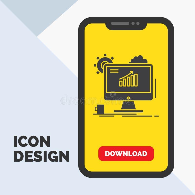 Analytics, grafiek, seo, Web, het Plaatsen Glyph Pictogram in Mobiel voor Downloadpagina Gele achtergrond vector illustratie