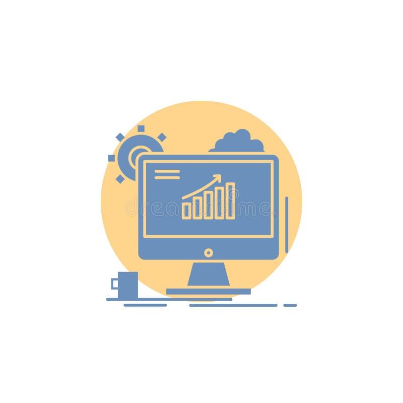 Analytics, grafiek, seo, Web, het Plaatsen Glyph Pictogram stock illustratie