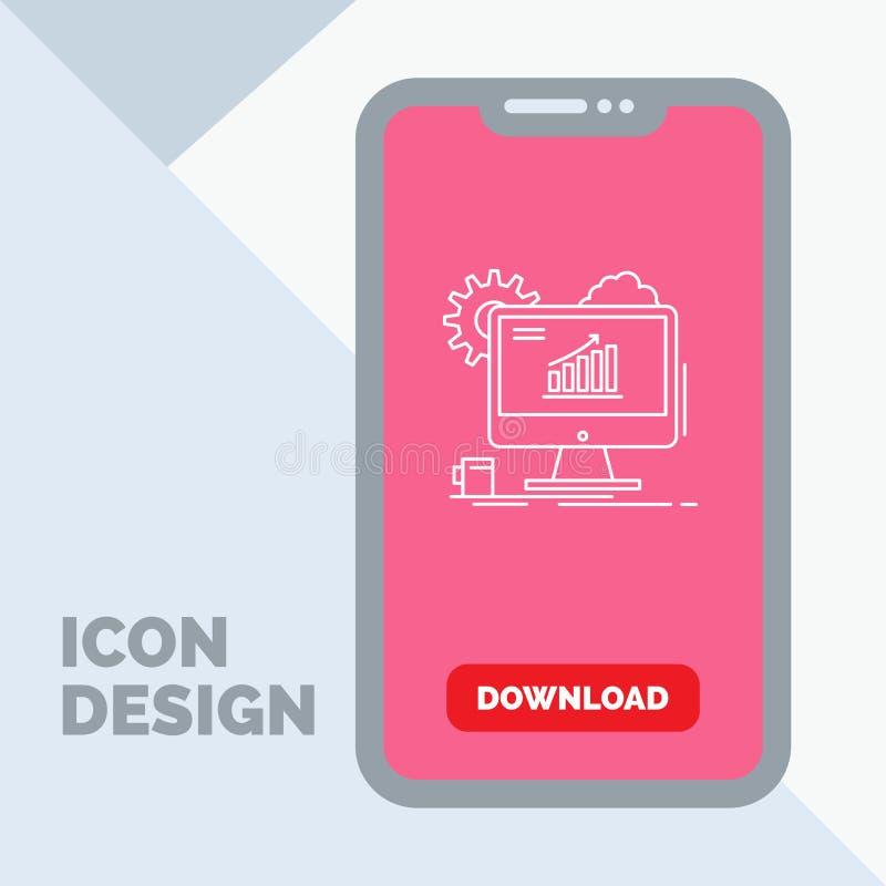 Analytics, grafiek, seo, Web, het Plaatsen Lijnpictogram in Mobiel voor Downloadpagina vector illustratie
