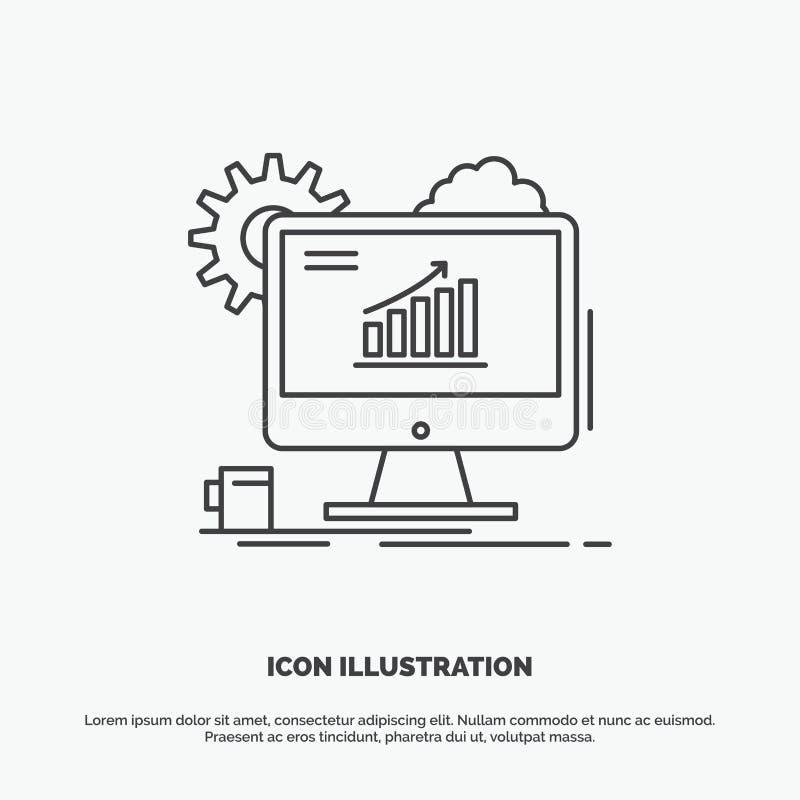 Analytics, grafiek, seo, Web, het Plaatsen Pictogram Lijn vector grijs symbool voor UI en UX, website of mobiele toepassing royalty-vrije illustratie