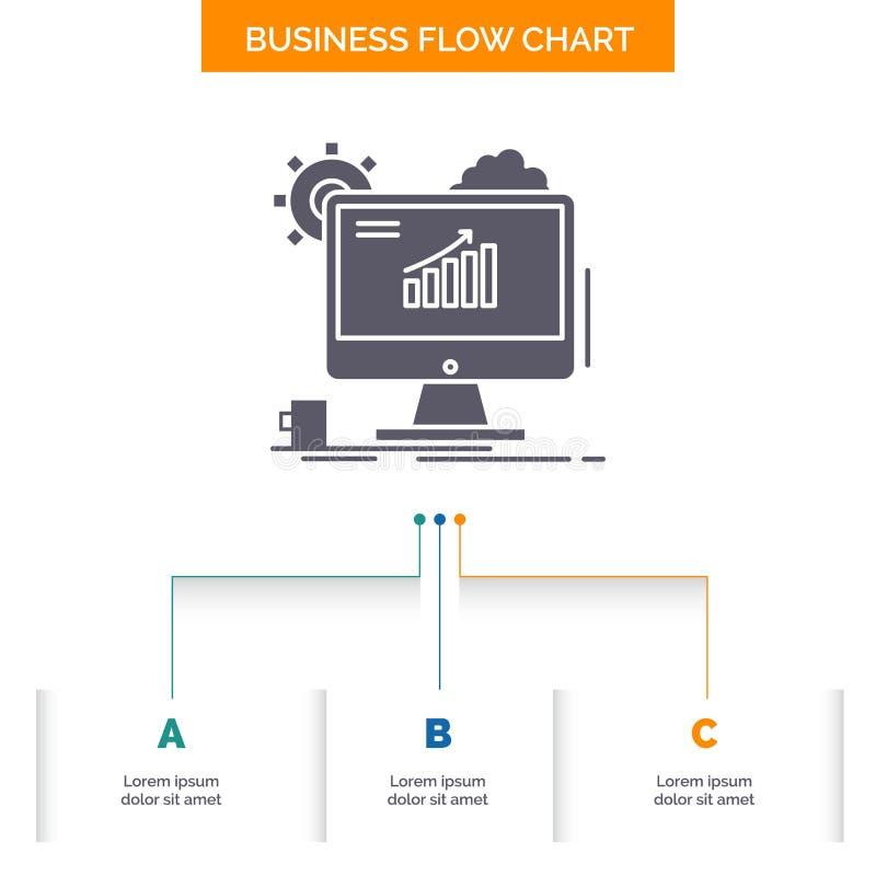 Analytics, grafiek, seo, Web, het Plaatsende Ontwerp van de Bedrijfsstroomgrafiek met 3 Stappen Glyphpictogram voor Presentatie A royalty-vrije illustratie