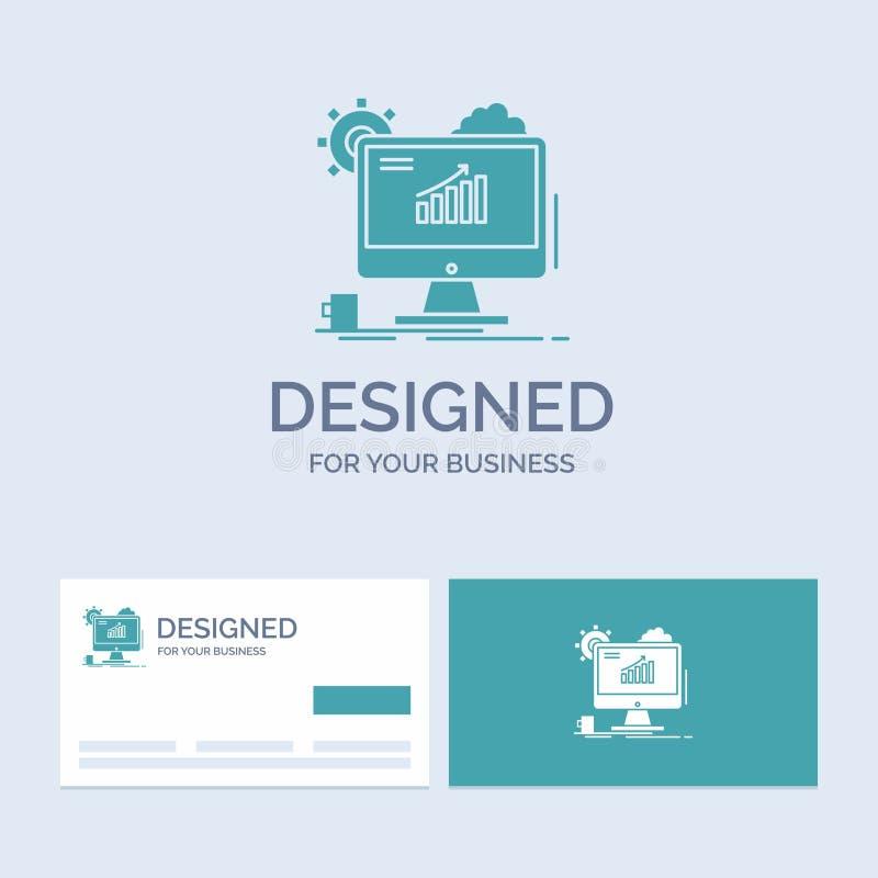 Analytics, grafiek, seo, Web, Plaatsende Zaken Logo Glyph Icon Symbol voor uw zaken Turkooise Visitekaartjes met Merkembleem stock illustratie