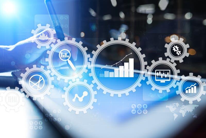 Analytics grande de los datos Concepto de la inteligencia empresarial del BI con los iconos de la carta y del gráfico en la panta ilustración del vector